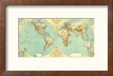 1935 World Map Reproduction encadrée par National Geographic Maps