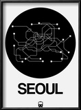 Seoul Black Subway Map Reproduction encadrée par NaxArt
