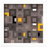 Geometric Abstract City Squares in Grey and Yellow Reproduction encadrée par Robin Pickens