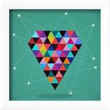 Retro Hipsters Trendy Triangle Diamond Illustration Reproduction encadrée par Cienpies