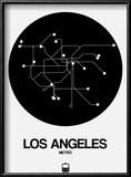 Los Angeles Black Subway Map Reproduction encadrée par NaxArt