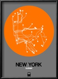 New York Orange Subway Map Reproduction encadrée par NaxArt