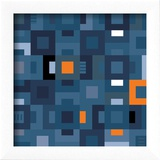 Geometric Abstract City Squares in Blue and Orange Reproduction encadrée par Robin Pickens