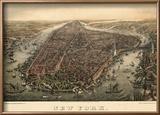 1873, New York City, 1873, Bird's Eye View, New York, United States Reproduction encadrée