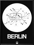 Berlin White Subway Map Reproduction encadrée par NaxArt
