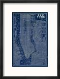 Blueprint Map New York Reproduction encadrée par Sue Schlabach