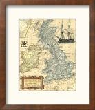 Carte des îles britanniques Reproduction encadrée par Vision Studio