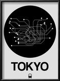 Tokyo Black Subway Map Reproduction encadrée par NaxArt