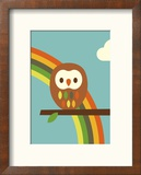 Owl and Rainbow Reproduction encadrée par Dicky Bird