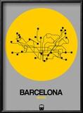Barcelona Yellow Subway Map Reproduction encadrée par NaxArt
