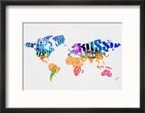 Typography World Map 7 Reproduction encadrée par NaxArt