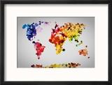 Low Poly Colorful World Map. Reproduction encadrée par Photocreo Bednarek