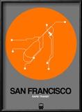 San Francisco Orange Subway Map Reproduction encadrée par NaxArt