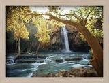 Vue pittoresque d'une cascade à Havasu Creek Reproduction encadrée par W. E. Garrett