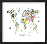 Animal Map of the World Reproduction encadrée par Michael Tompsett