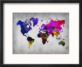World Watercolor Map 13 Reproduction encadrée par NaxArt