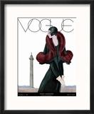 Vogue Cover - October 1929 - Fur Fashion Reproduction encadrée par Georges Lepape