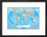 Planisphère française classique Reproduction encadrée par National Geographic Maps