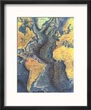 1968 Atlantic Ocean Floor Map Reproduction encadrée par National Geographic Maps