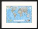 Carte politique du monde Reproduction encadrée par National Geographic Maps