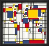 Mondrian Abstract World Map Reproduction encadrée par Michael Tompsett