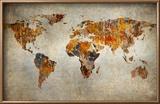 Grunge Map Of The World Reproduction encadrée par Javarman