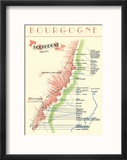 Map of French Bourgogne Wine Country Reproduction encadrée