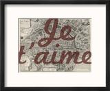 Je Taime - Paris, France, Vintage Map Reproduction encadrée