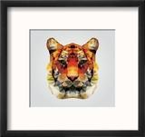 Geometric Polygon Tiger Head, Triangle Pattern Design, Vector Illustration Reproduction encadrée par BlueLela