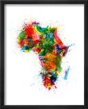 Paint Splashes Map of Africa Map Reproduction encadrée par Michael Tompsett