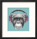 Portrait of Monkey with Headphones. Hand Drawn Illustration. Reproduction encadrée par Victoria_novak