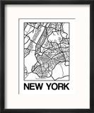 White Map of New York Reproduction encadrée par NaxArt
