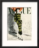 Vogue USA - Couverture de juillet 1947 sur la mode d'automne Reproduction encadrée par René Bouét-Willaumez