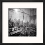 Brooklyn Bridge Triple Reproduction encadrée par Evan Morris Cohen