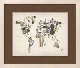 Musical Instruments Map of the World Reproduction encadrée par Michael Tompsett
