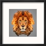 Lion Low Poly Portrait Reproduction encadrée par Kakmyc