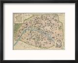 Vintage Paris Map Reproduction encadrée par The Vintage Collection