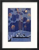Fireworks in Venice, Illustration for Fetes Galantes by Paul Verlaine 1924 Reproduction encadrée par Georges Barbier