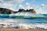 A Curling Wave Breaking at the Beautiful Porthcurno Beach