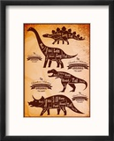 Collection of Dinosaurs with their Cutting Scheme Reproduction encadrée par 111chemodan111