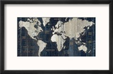 Old World Map Blue Reproduction encadrée par Hugo Wild