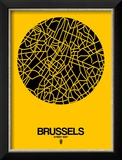 Brussels Street Map Yellow Reproduction encadrée par NaxArt