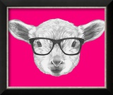 Portrait of Lamb with Glasses. Hand Drawn Illustration. Reproduction encadrée par Victoria_novak