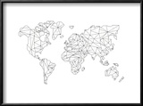 World Wire Map 5 Reproduction encadrée par NaxArt