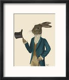 Hare in Turquoise Coat Reproduction encadrée par Fab Funky