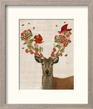 Deer and Love Birds Reproduction encadrée par Fab Funky