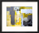 Grey And Yellow Abstract Art Painting Reproduction encadrée par T30Gallery