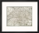 Map of Paris, from 'L'Atlas De Paris' by Jean De La Caille, 1714 Reproduction encadrée