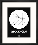 Stockholm White Subway Map Reproduction encadrée par NaxArt