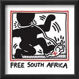Free South Africa, 1985 Reproduction encadrée par Keith Haring